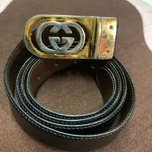Men's Gucci belt with gold buckle